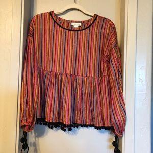 Anthropologie Amaryllis stripe vibrant blouse NWOT
